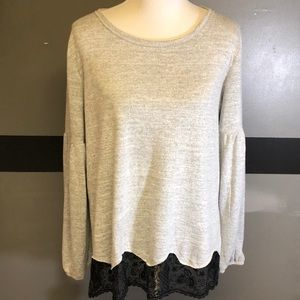 EUC Maurice's Gray with Black Lace Sweater Size XL